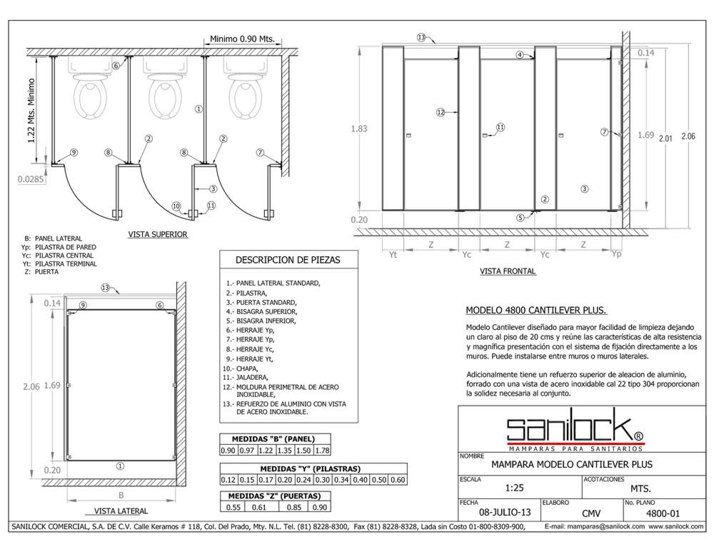 Cantilever plus 4800 mamparas sustentables for Puertas de aluminio medidas estandar